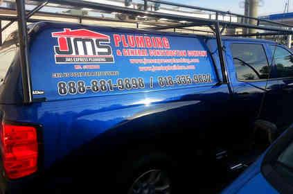 Vehicle lettering for a plumbing company in Santa Monica