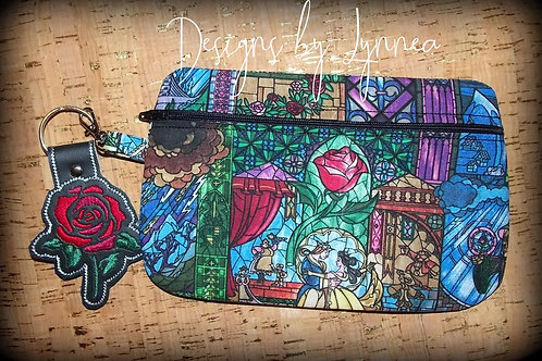 Beauty and the Beast Bag and Rose Key Fob