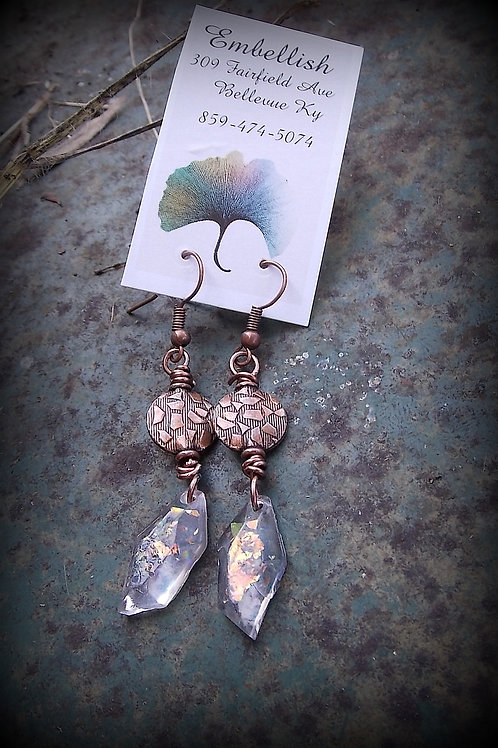 Copper and Resin Crystal Earrings