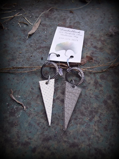 Shades of gray triangle earrings