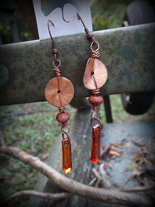 Copper, Resin and Goldstone earrings