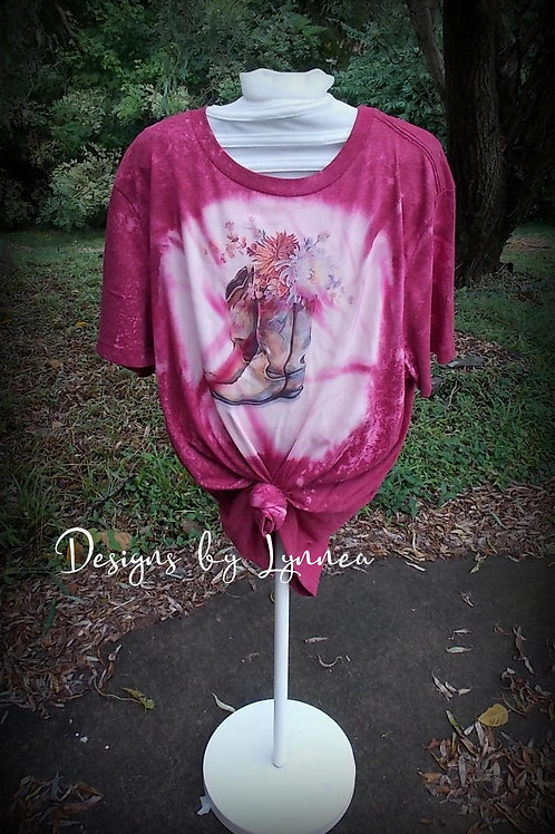 Flowers and Boots Tee - size L