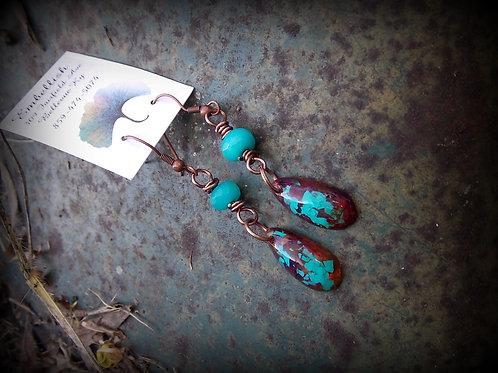 Aqua and Copper Earrings