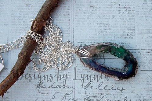 Blue Resin Geode Necklace