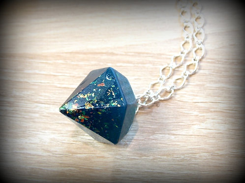 Teal and Metallic Flake Necklace