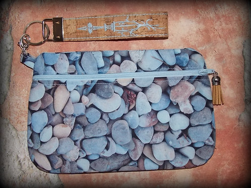Pebbles Zippered Clutch and Embroidered Cork Key Fob