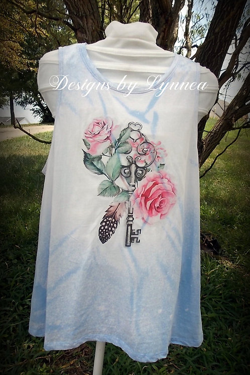 Light Blue Flowers and Key Tank - SIZE Large only