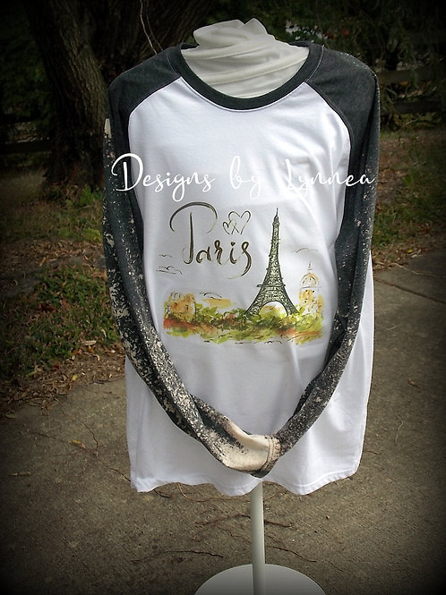 Watercolor Paris Baseball Style Shirt