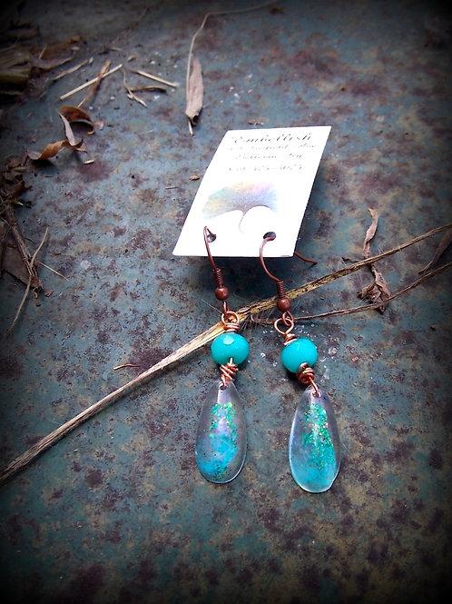 Aqua and Resin drop Earrings