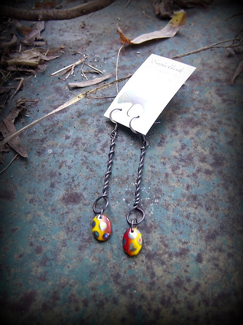 Twisted Steel Earrings with red and yellow beads