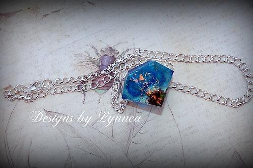 Blue Diamond Resin Necklace