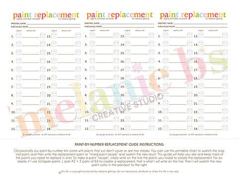 DIGITAL FILE: Downloadable Printable Reusable Paint Replacement Guide