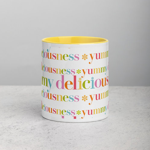 """Colorful """"Yummy Deliciousness"""" Mug with Color Inside"""