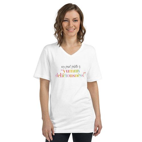 """""""Yummy Deliciousness"""" Unisex Short Sleeve V-Neck T-Shirt"""