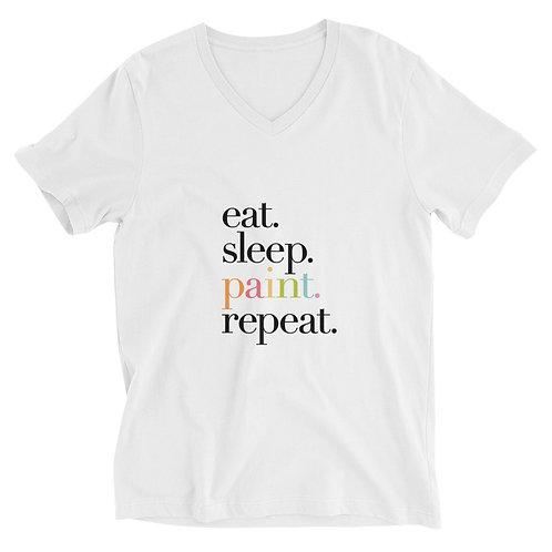 """eat. sleep. paint. repeat"" WHITE Unisex Short Sleeve V-Neck T-Shirt"