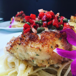 Parmesan Crusted Chicken with Caper Relish over Pasta
