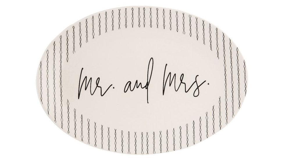 """14.5"""" Ceramic Platter, Mr. and Mrs."""