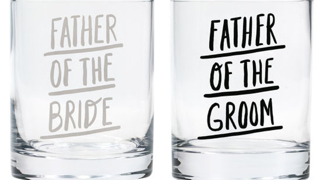 Father of the Bride/Father of the Groom Rock Glass Set