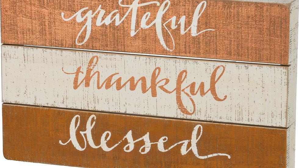 Slat Box Sign - Grateful - Thankful - Blessed