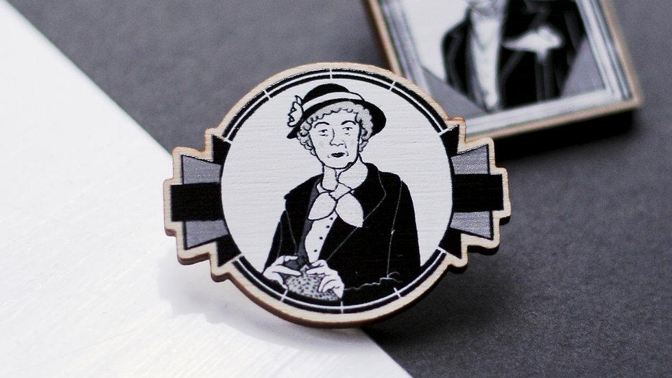 Miss Marple Wooden Pin