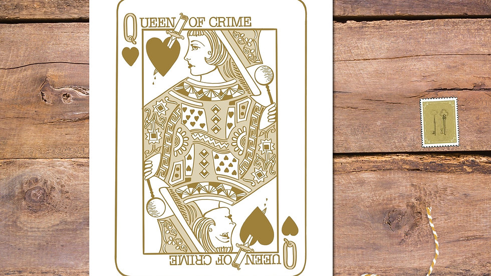 Queen Of Crime Playing Card Postcard Print
