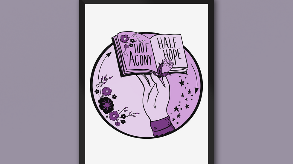 Half Agony Half Hope Jane Austen Print Purple