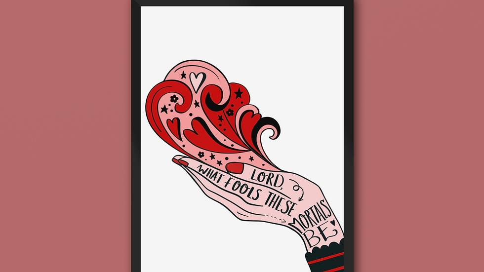 Lord What Fools These Mortals Be Shakespeare Print Red