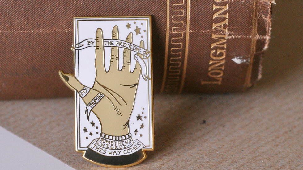 By The Pricking Of My Thumbs Shakespeare Enamel Pin
