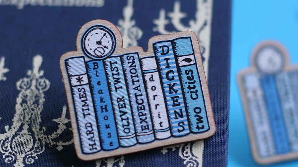 Charles Dickens Bookshelf Wooden Pin