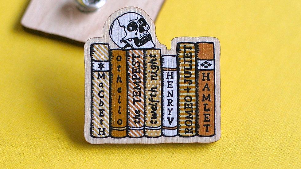 William Shakespeare Bookshelf Wooden Pin