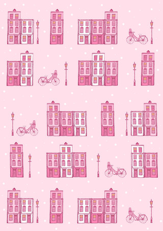 Pastel Pink Houses Wrapping Paper