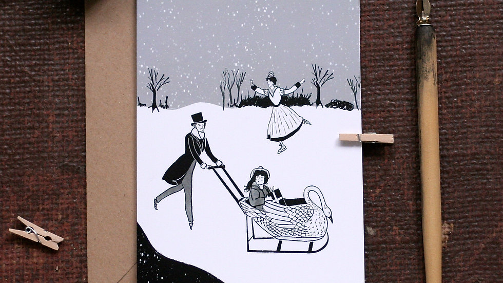 Victorian Christmas Card Swan Sledge