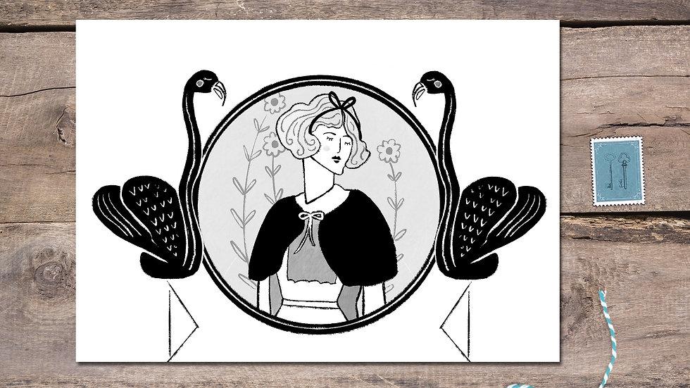 Alice in Wonderland Black Ink Postcard