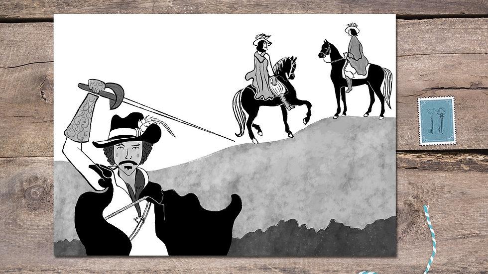 Three Musketeers Black Ink Postcard