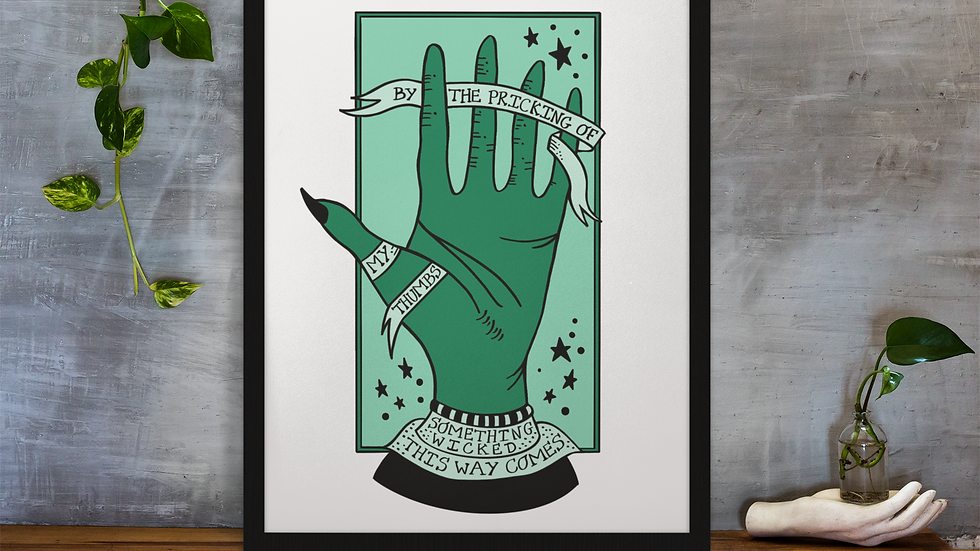 By The Pricking Of My Thumbs Shakespeare Print Green