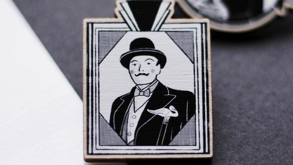 Hercule Poirot Wooden Pin