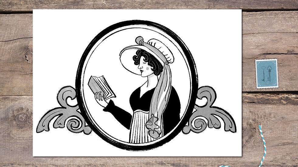 Elizabeth Bennet Black Ink Postcard
