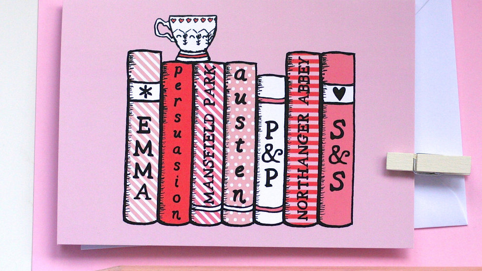 Jane Austen Bookshelf Card