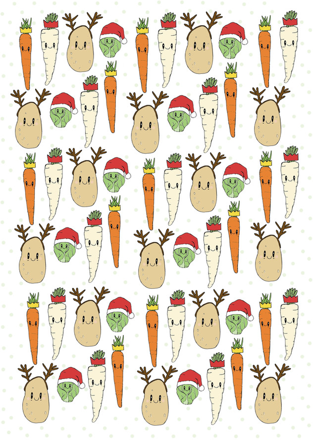 Christmas Vegetables Wrapping Paper
