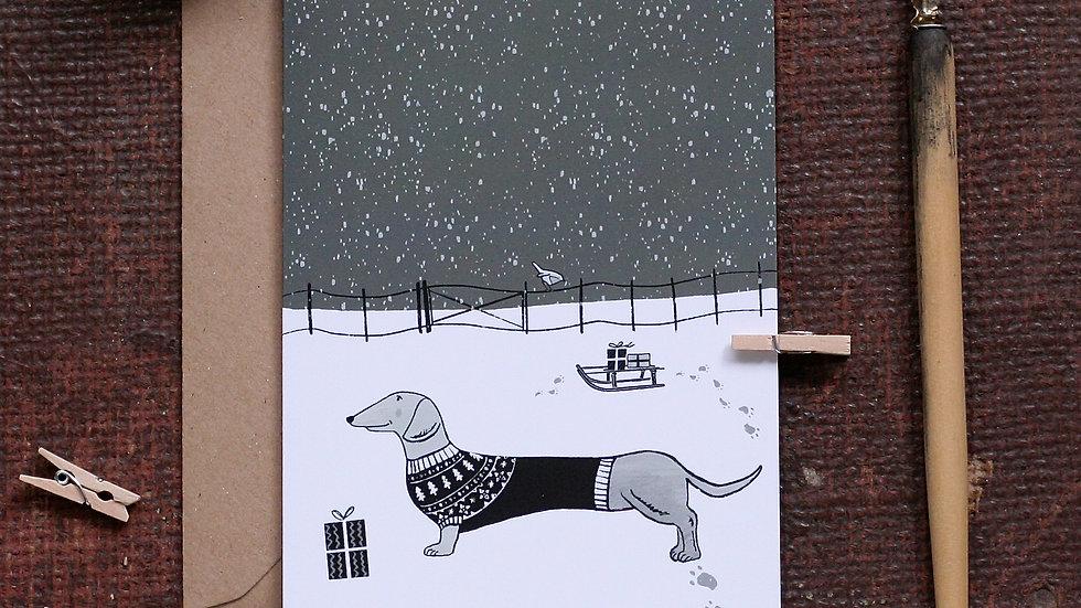 Dog Christmas Card Dachshund