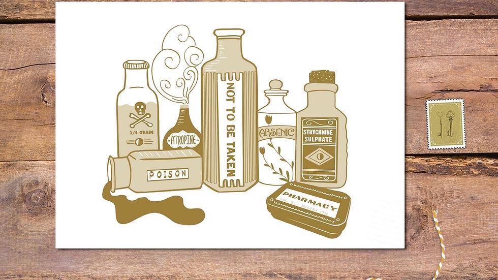 Poison Bottles Postcard Print