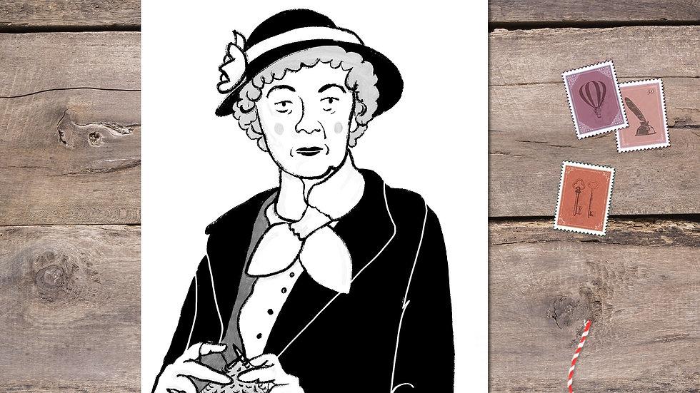 Miss Marple Black Ink Postcard