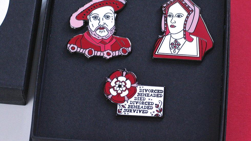 The Tudors Enamel Pin Set of Three