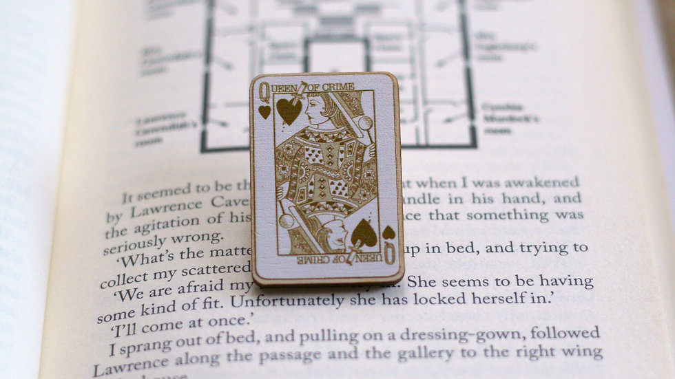 Queen of Crime Playing Card Wooden Pin
