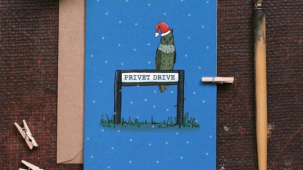 Bookish Christmas Card Owl Christmas Card