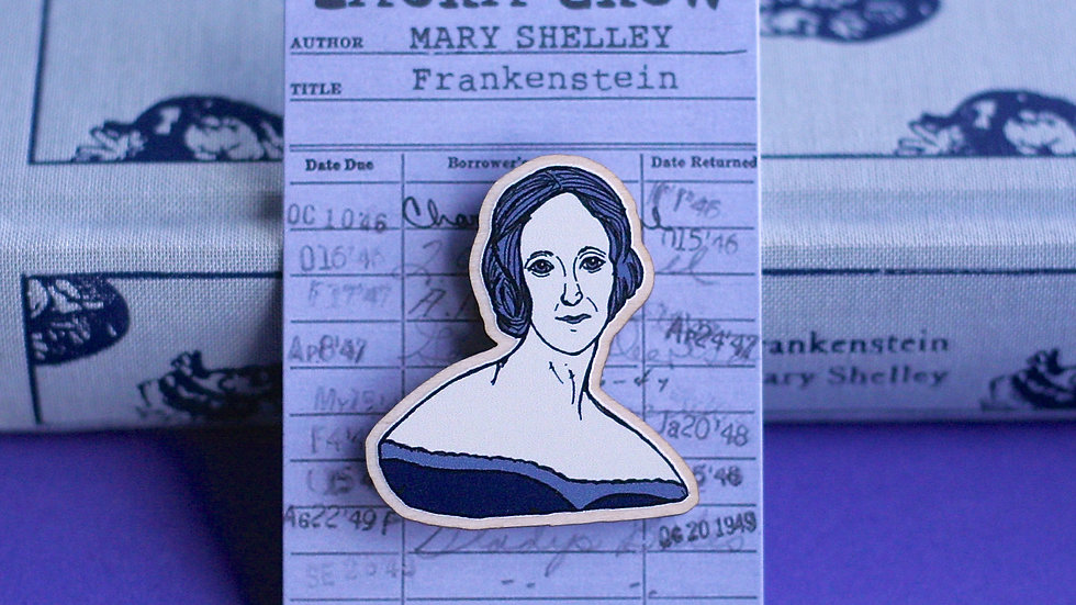 Mary Shelley Frankenstein Wooden Pin