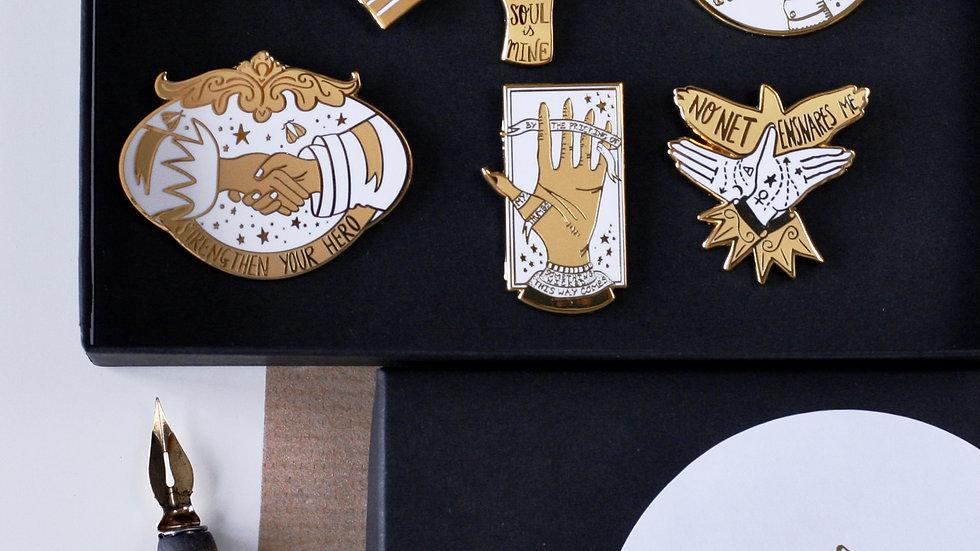 Victorian Hands Literature Quotes Set of Six Enamel Pins
