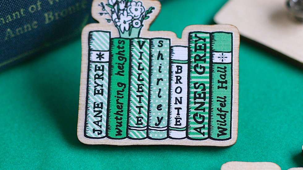 The Bronte Sisters Bookshelf Wooden Pin