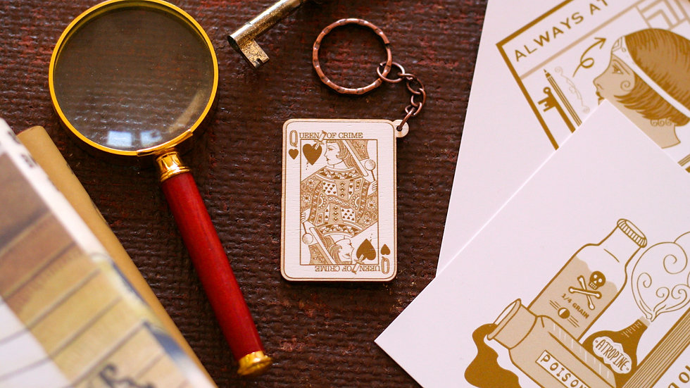 Queen of Crime Playing Card Wooden Keyring
