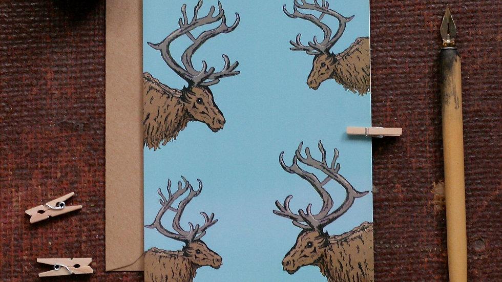 Reindeer Christmas Card Blue